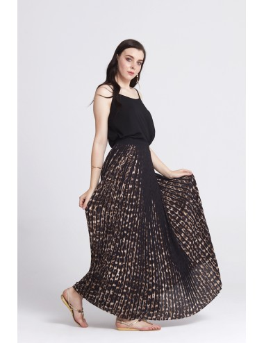 Long Pleated Skirt - Brown -