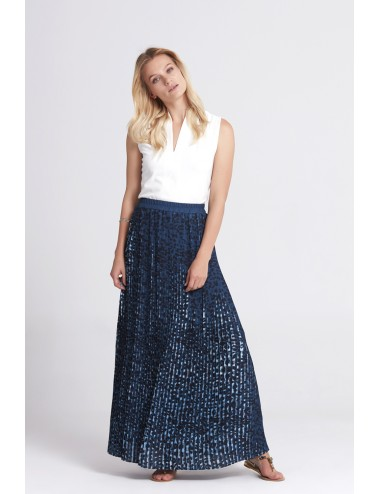 Long Pleated Skirt - Blue -