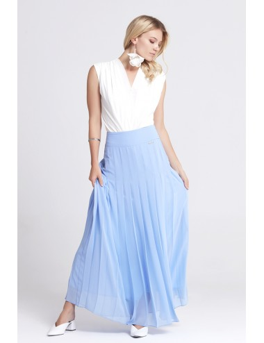 Long Pleated Blue Skirt
