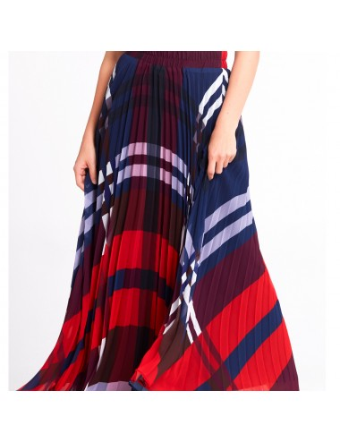 Navy Blue Long Plaid Skirt